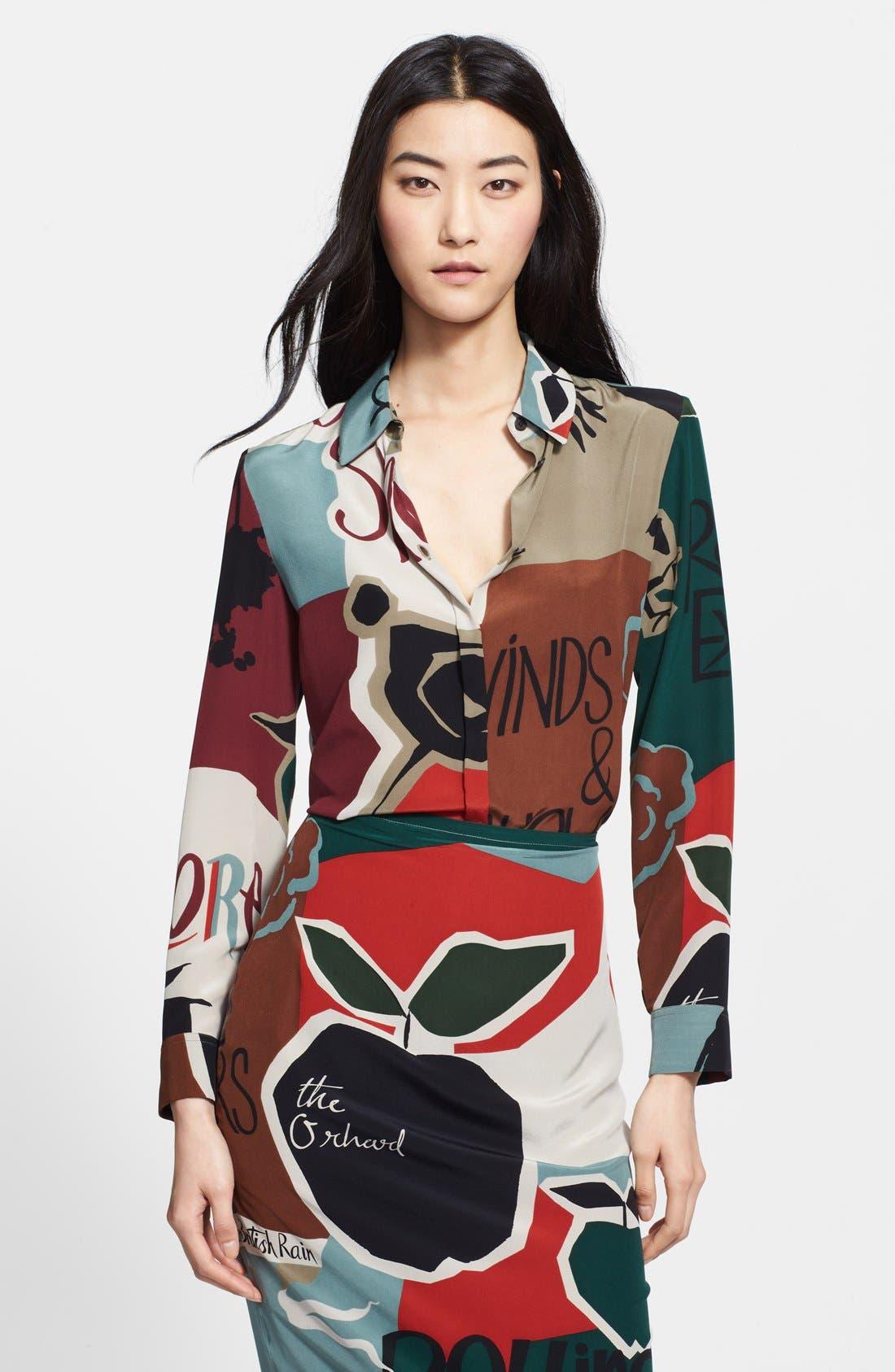 Main Image - Burberry Prorsum Poet Print Mulberry Silk Blouse