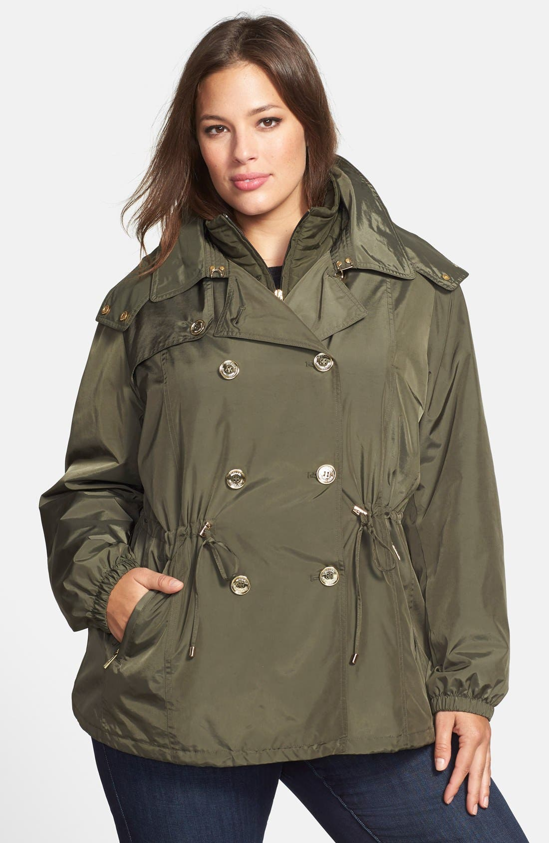 Main Image - MICHAEL Michael Kors Double Breasted Anorak with Detachable Hood & Bib (Plus Size)