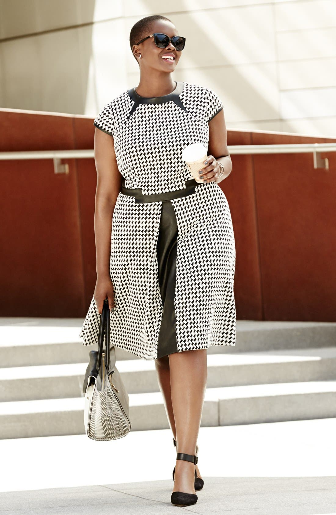 Alternate Image 3  - Julia Jordan Houndstooth Dress & Sam Edelman Pump (Plus Size)