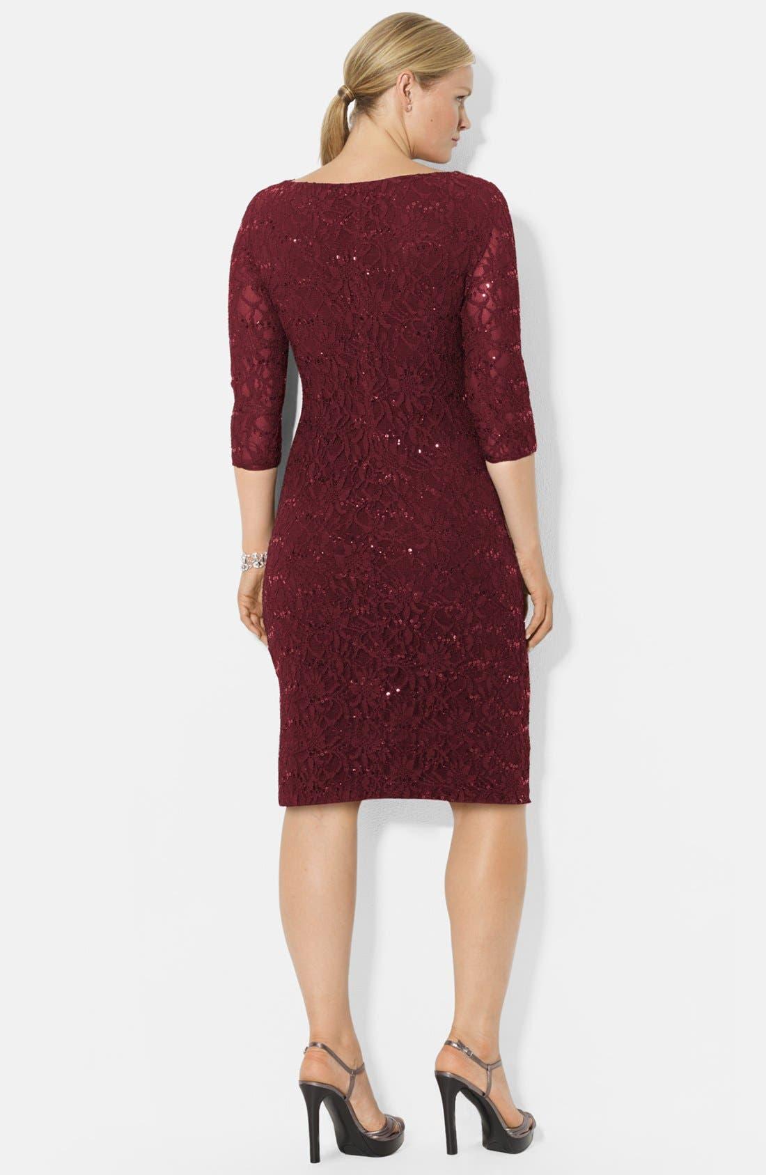 Alternate Image 2  - Lauren Ralph Lauren Stretch Sequin Lace Dress (Plus Size)
