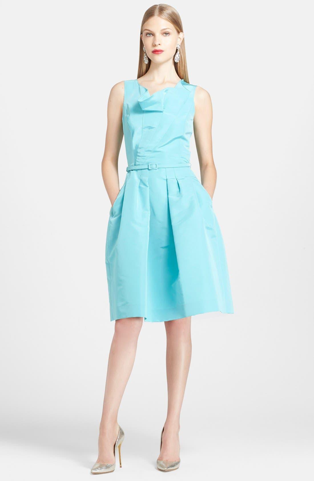 Alternate Image 1 Selected - Oscar de la Renta Silk Fit & Flare Dress