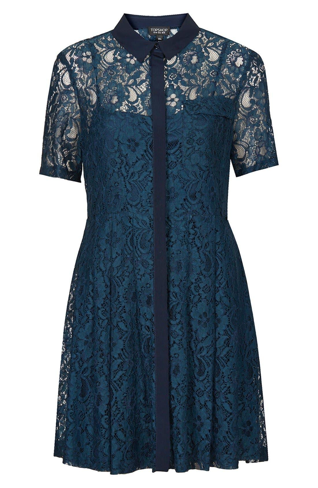 Alternate Image 3  - Topshop Lace Shirt Dress