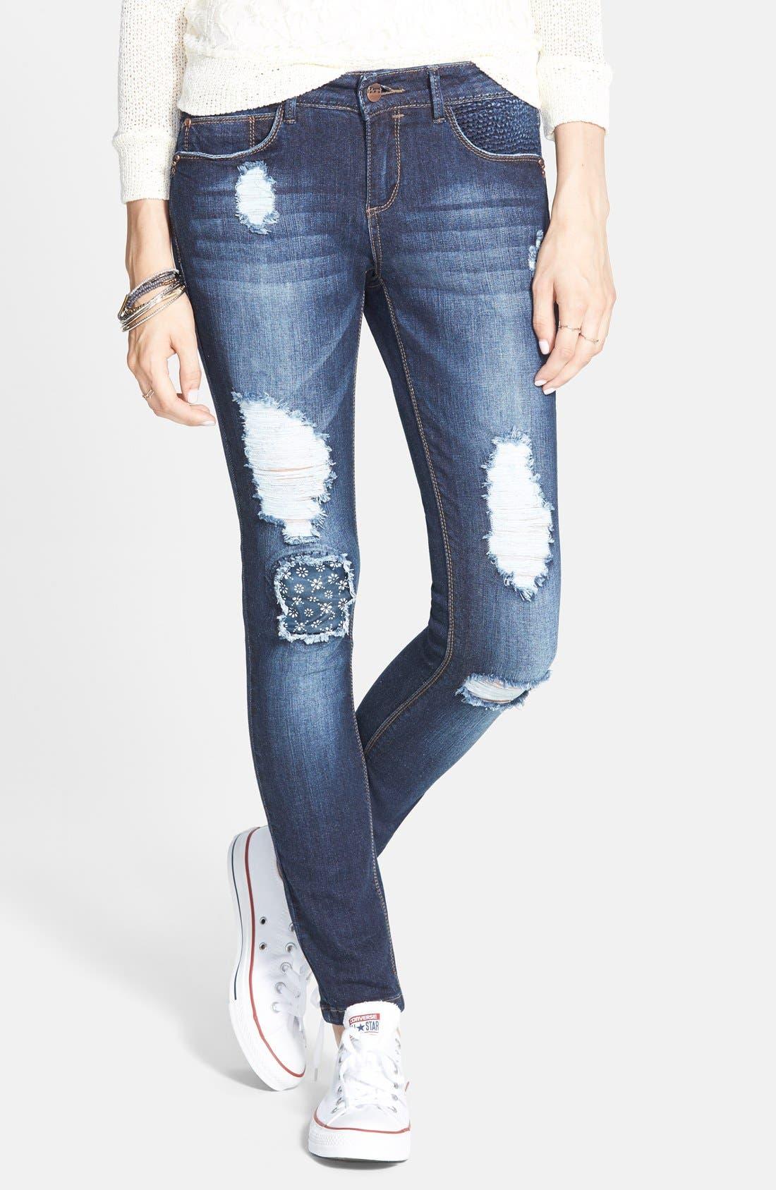 Alternate Image 1 Selected - HART Denim 'Leigh' Destroyed Patched Skinny Jeans (Dark Wash)