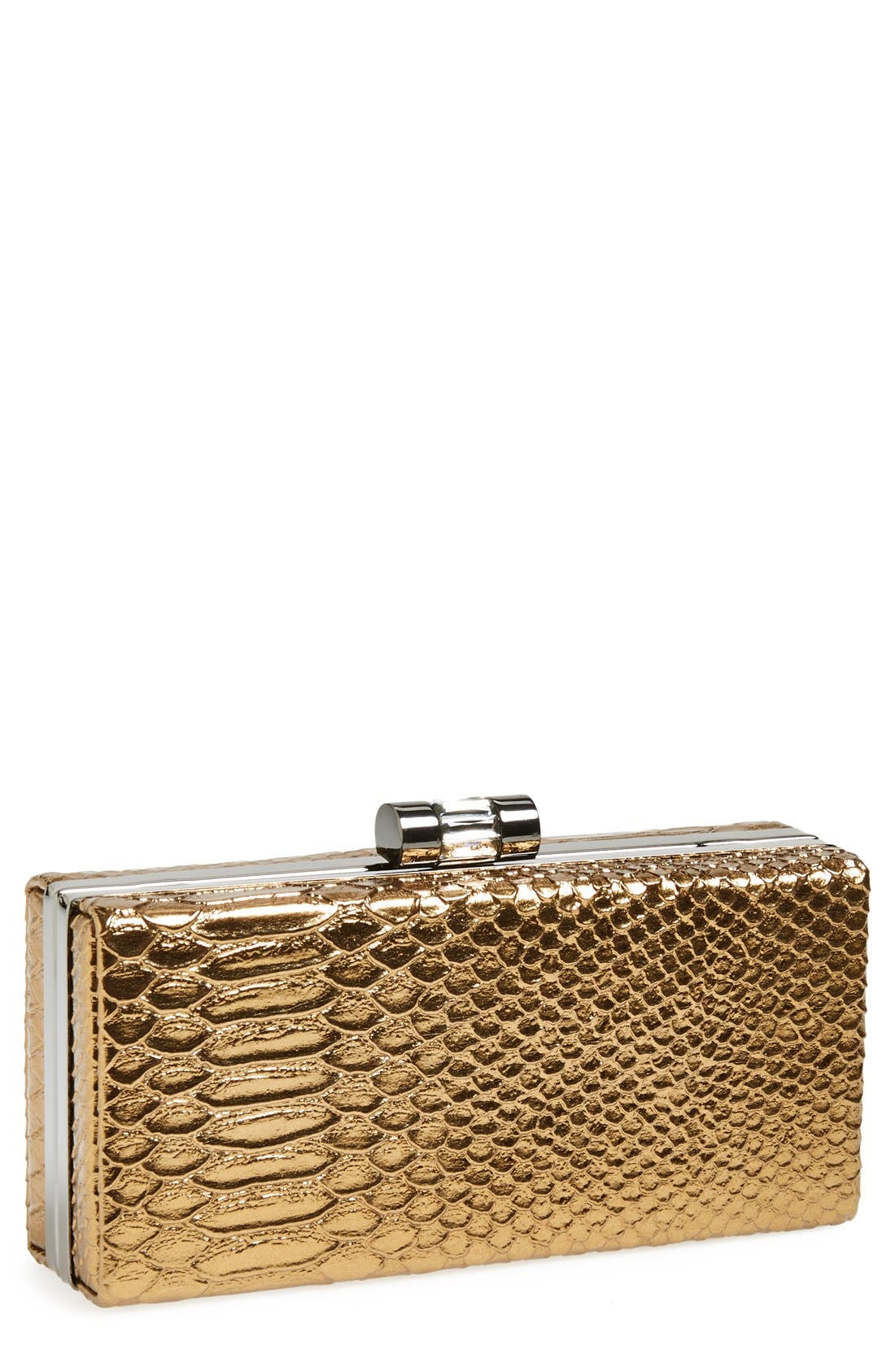 Alternate Image 1 Selected - Jessica McClintock Snake Embossed Box Clutch