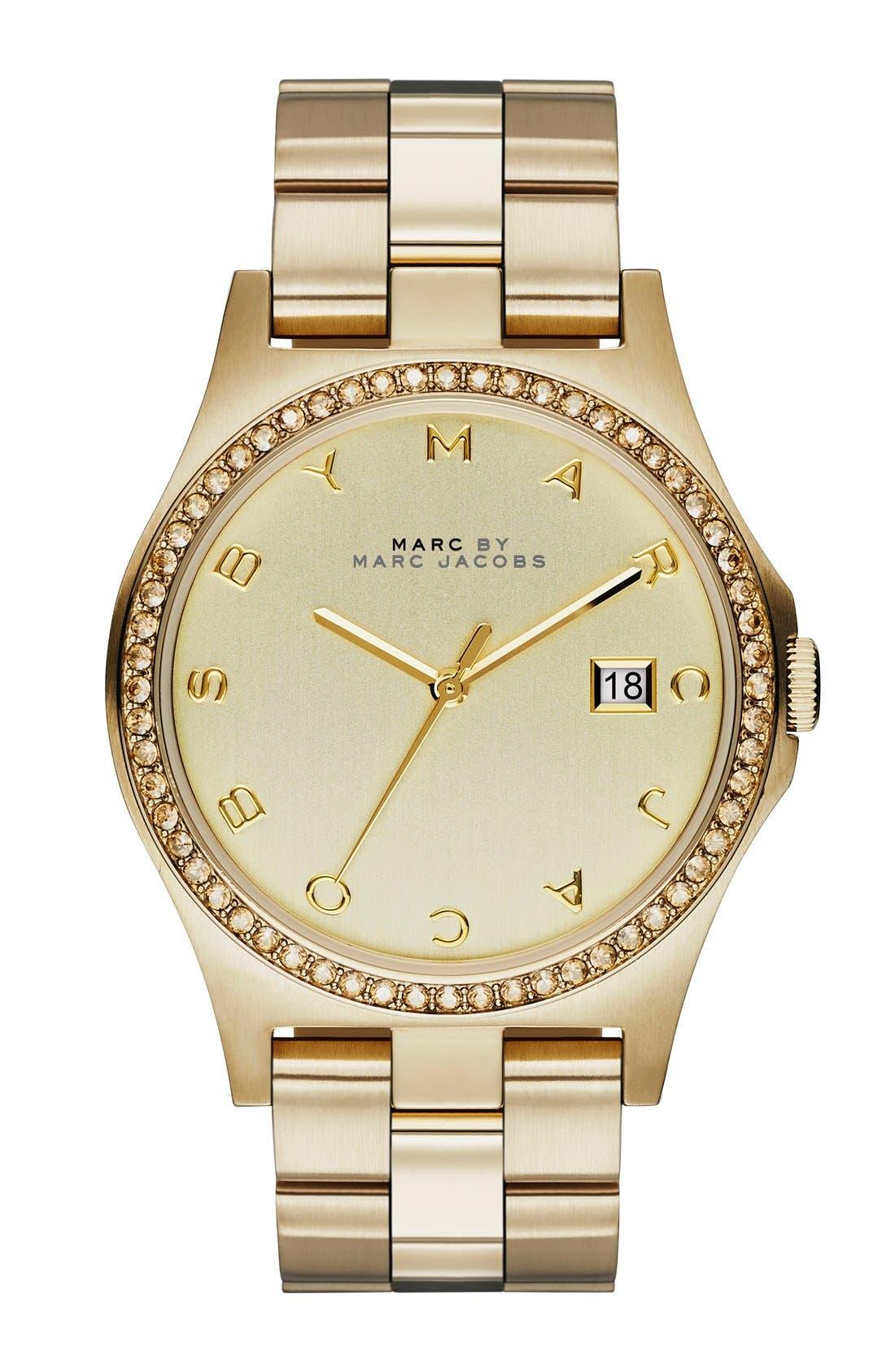 Main Image - MARC BY MARC JACOBS 'Henry' Crystal Bezel Bracelet Watch, 40mm