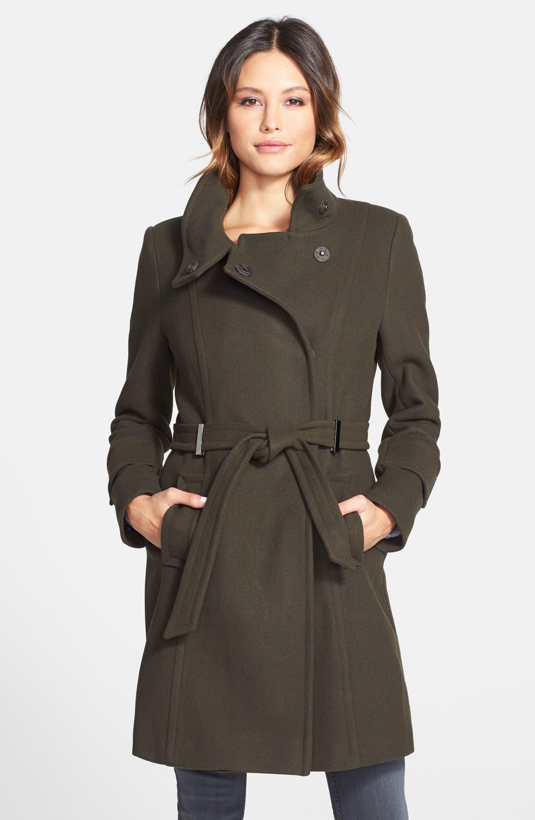 Alternate Image 1 Selected - Elie Tahari 'India' Stand Collar Belted Wool Blend Coat