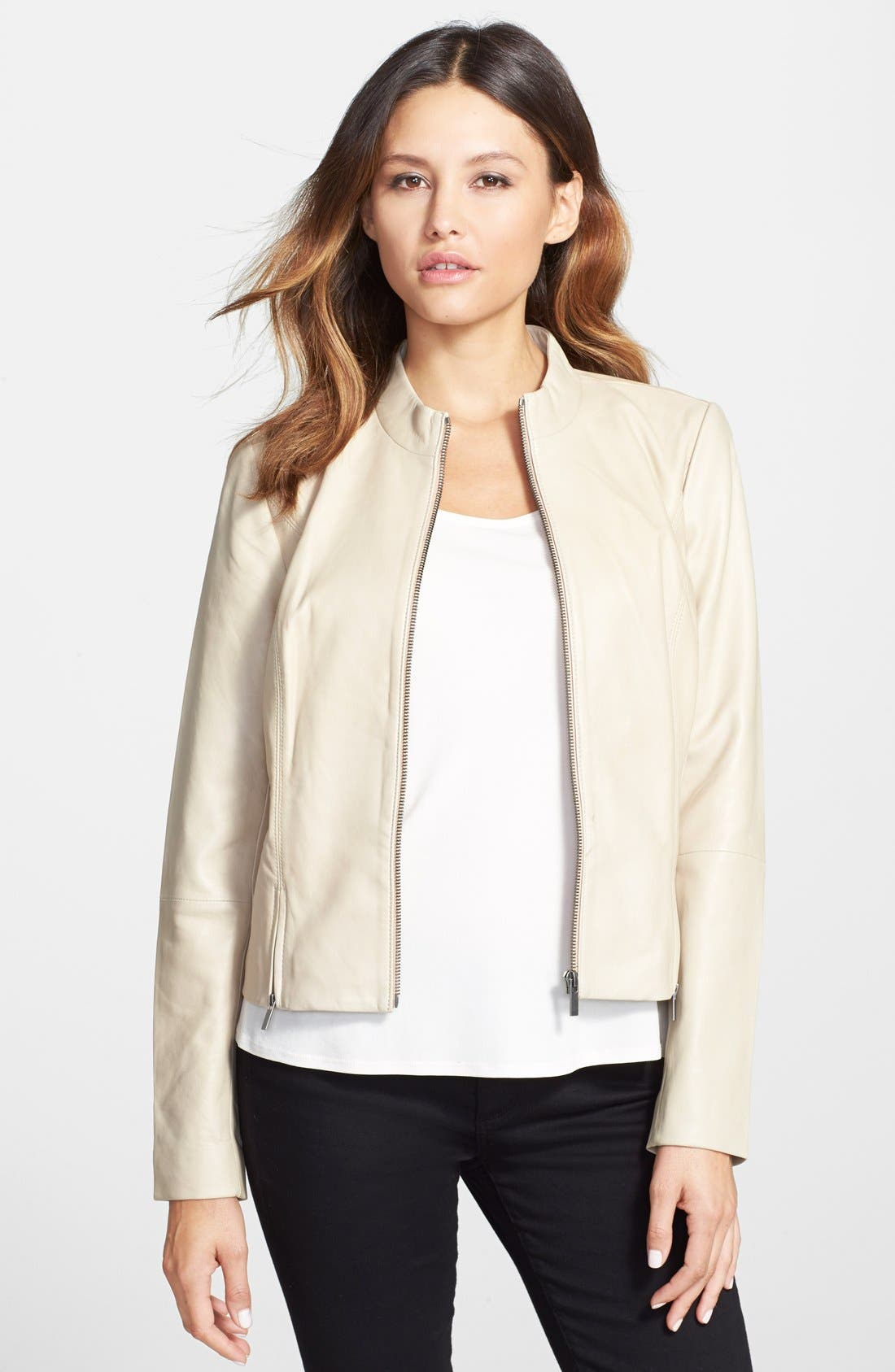 Main Image - Classiques Entier® Double Zip Detail Leather Jacket