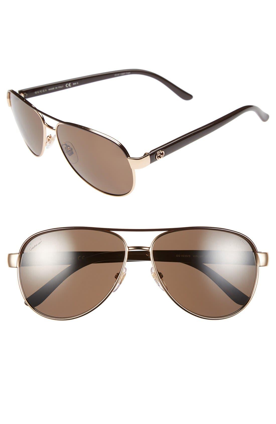Main Image - Gucci 58mm Polarized Aviator Sunglasses