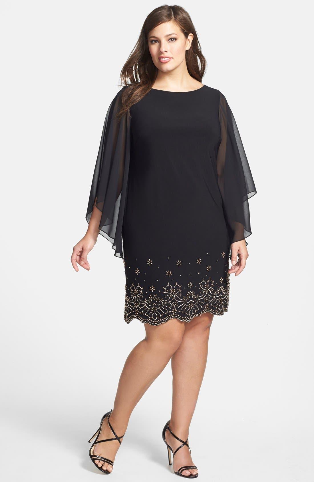 Xscape Embellished Chiffon Shift Dress (Plus Size)