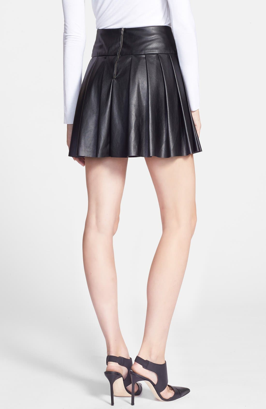 Alternate Image 2  - Ella Moss 'Raquel' Pleated Faux Leather Skirt