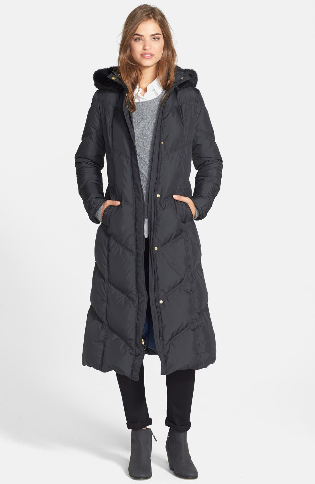 Main Image - T Tahari 'Camy' Long Hooded Down Coat with Genuine Rabbit Fur Trim (Online Only)