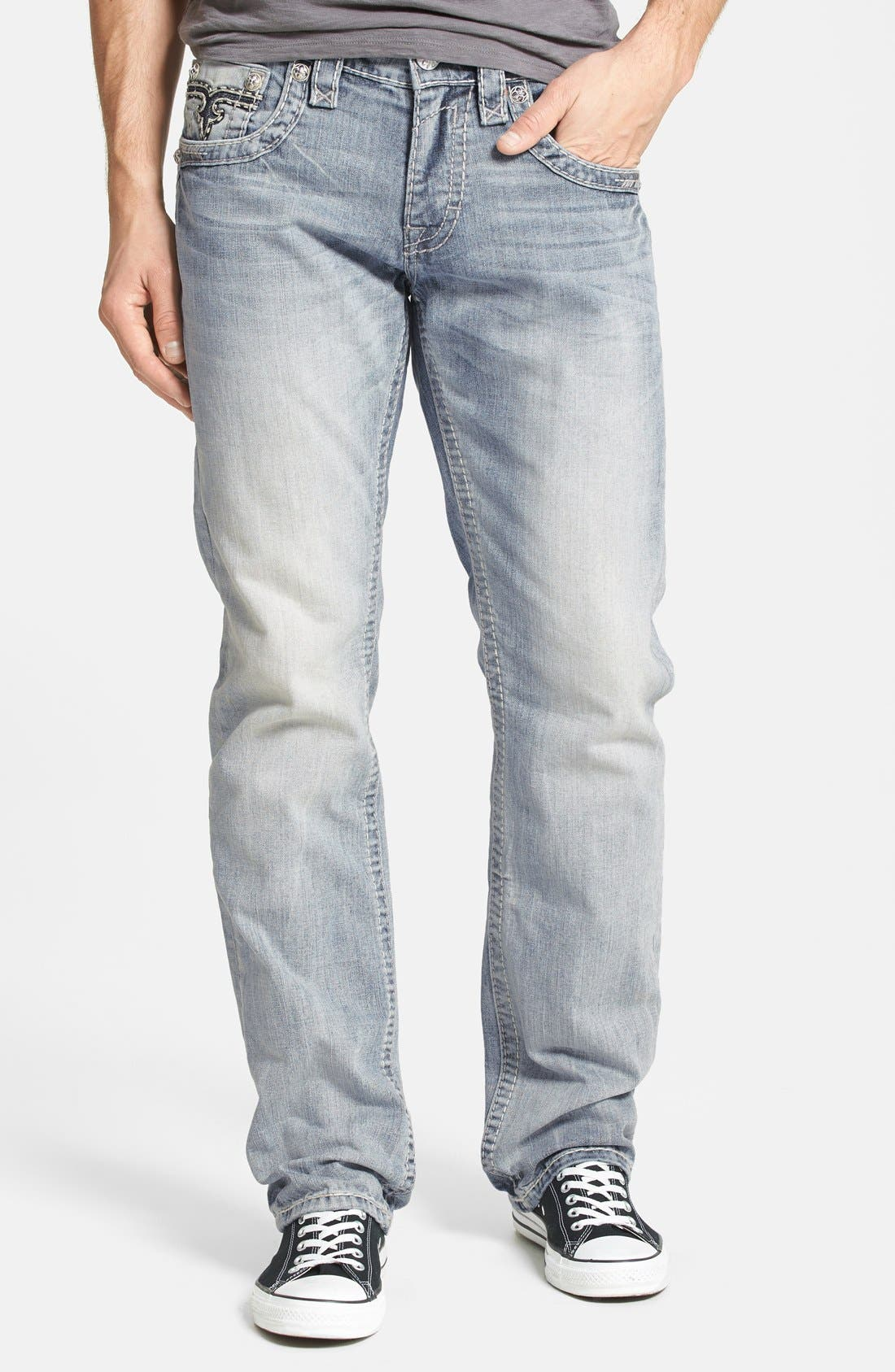 Alternate Image 2  - Rock Revival 'Humfrey' Straight Leg Jeans (Light Blue)