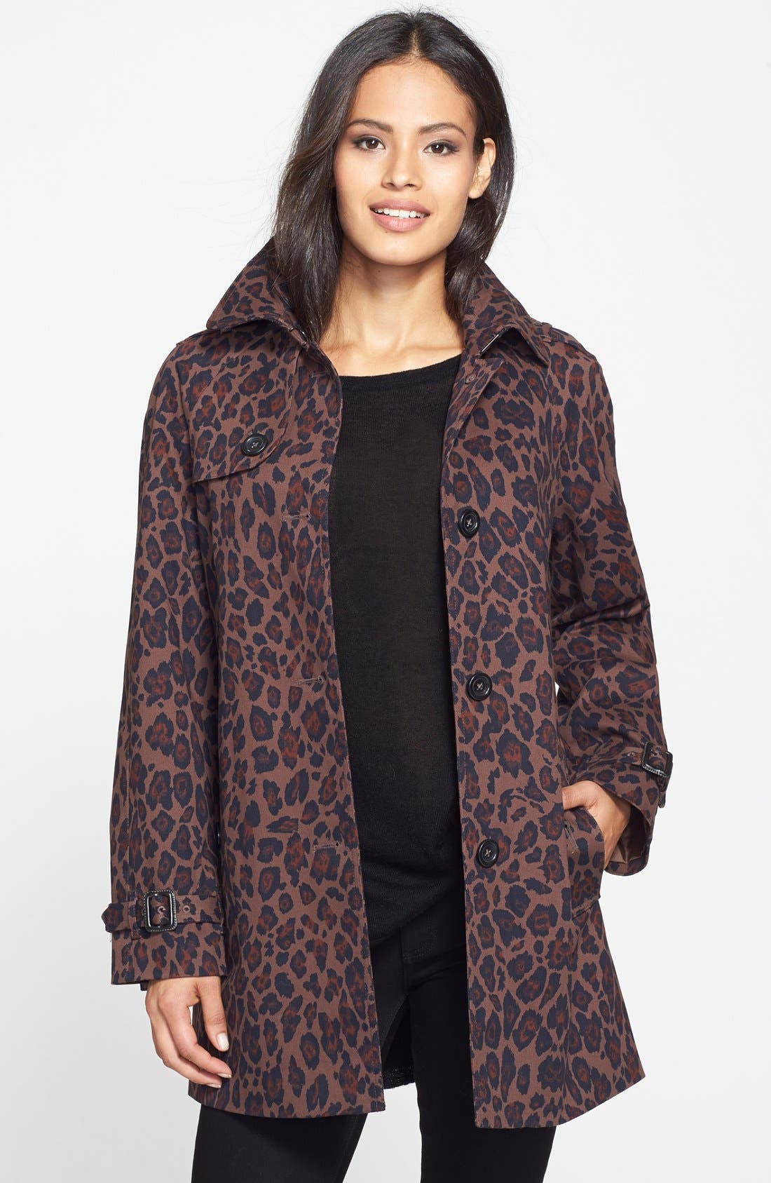 Alternate Image 1 Selected - London Fog Animal Print Single Breasted A-Line Coat (Online Only)