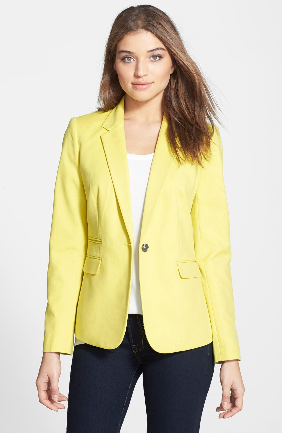 Alternate Image 1 Selected - Vince Camuto One-Button Stretch Cotton Blazer