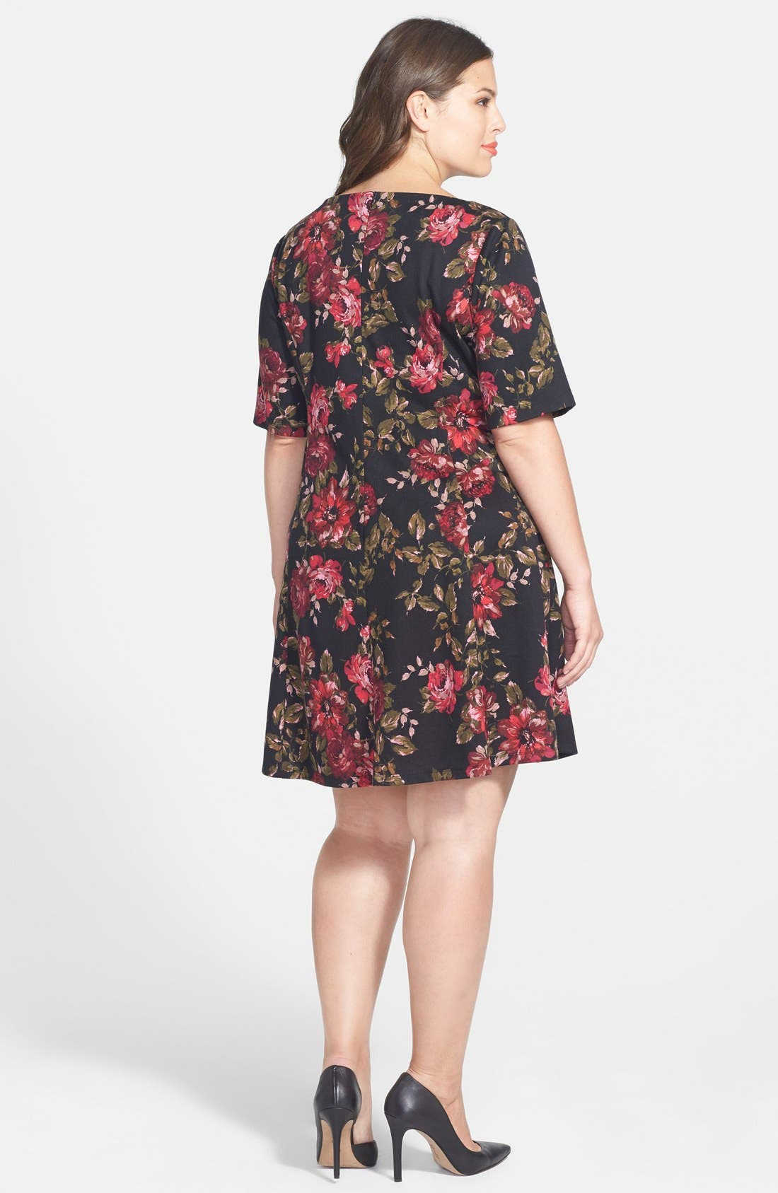 Alternate Image 2  - Gabby Skye Floral Print Fit & Flare Dress (Plus Size)