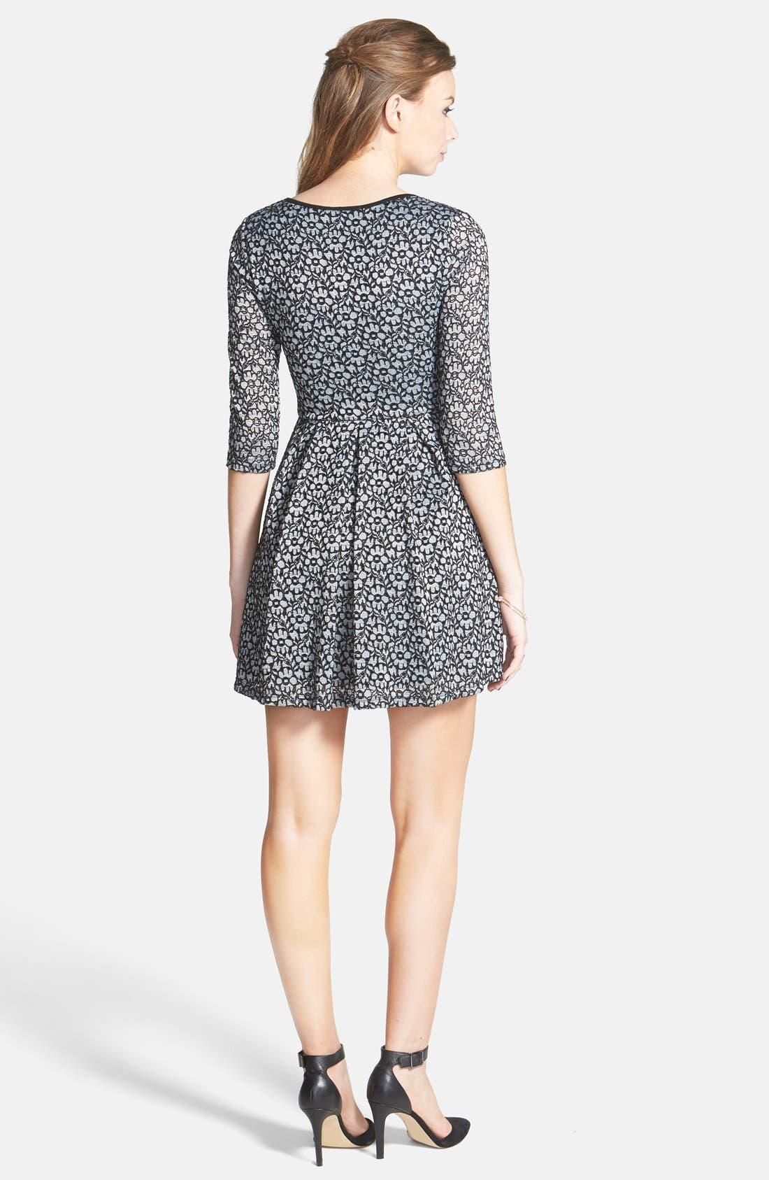 Alternate Image 2  - Lush Textured Floral Lace Skater Dress