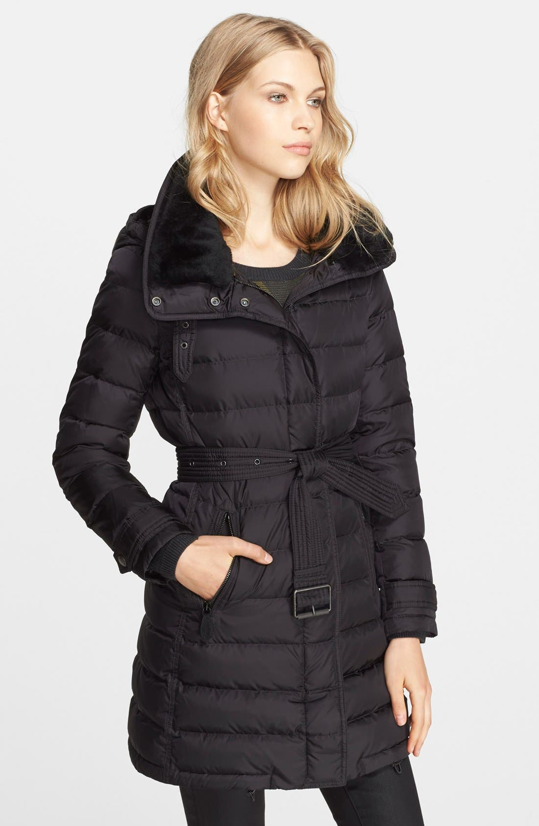 Main Image - Burberry Brit 'Winterleigh' Down Coat with Detachable Shearling Collar