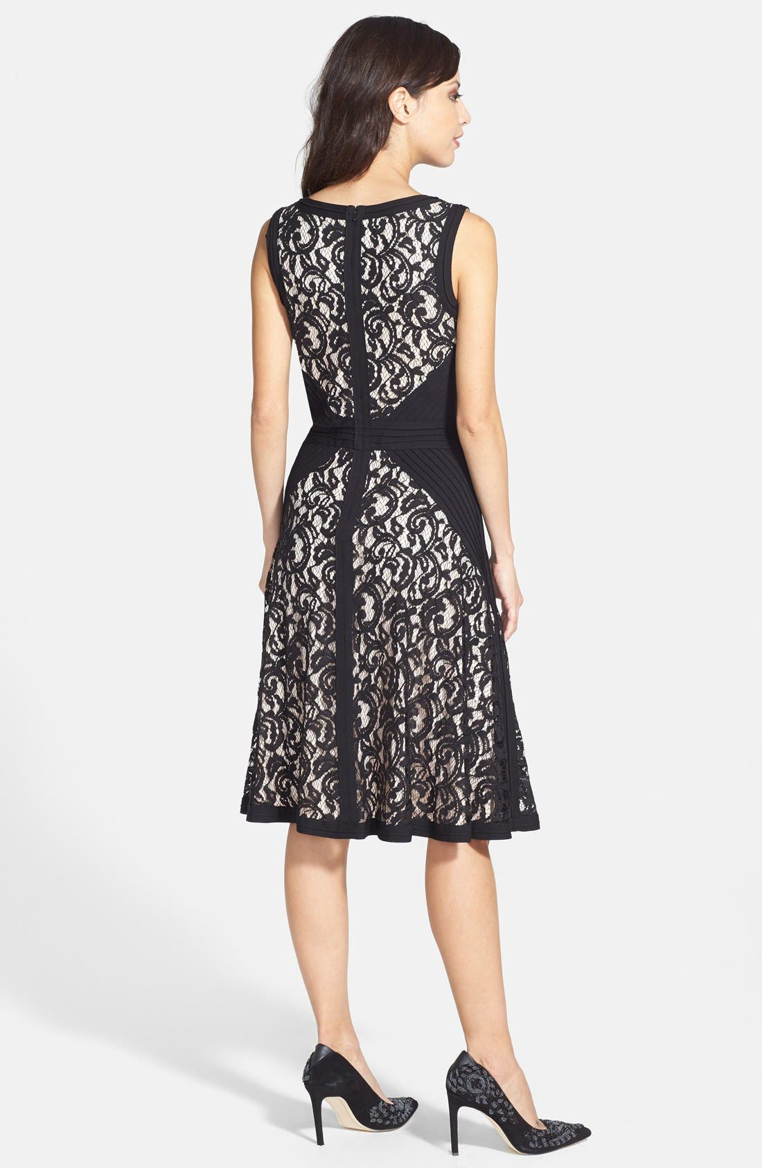 Alternate Image 2  - Tadashi Shoji Lace & Jersey Fit & Flare Dress (Regular & Petite)