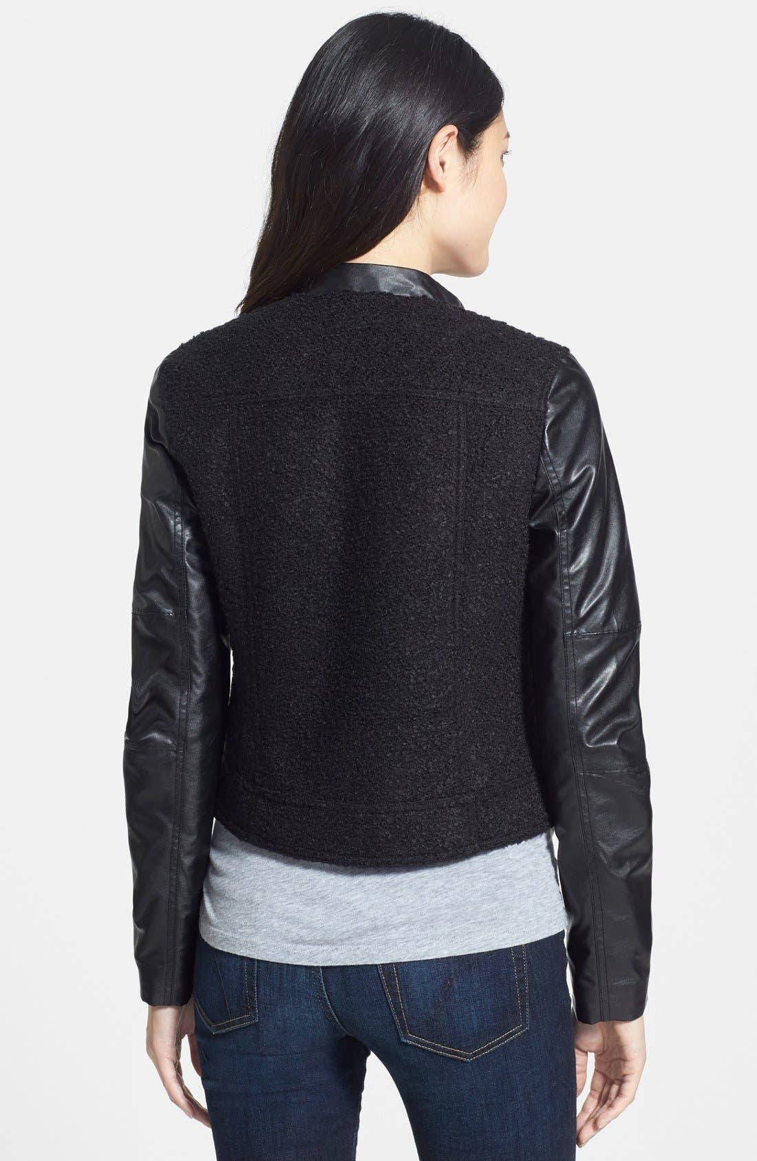 Alternate Image 2  - Caslon® Faux Leather & Bouclé Moto Jacket