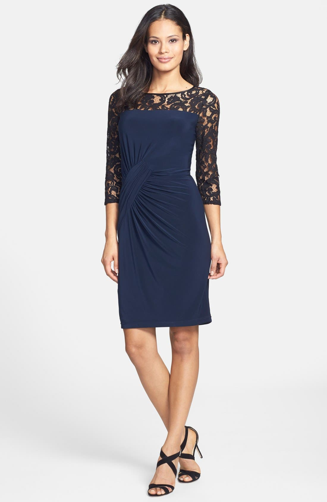 Alternate Image 3  - Adrianna Papell Lace & Jersey Shirred Sheath Dress