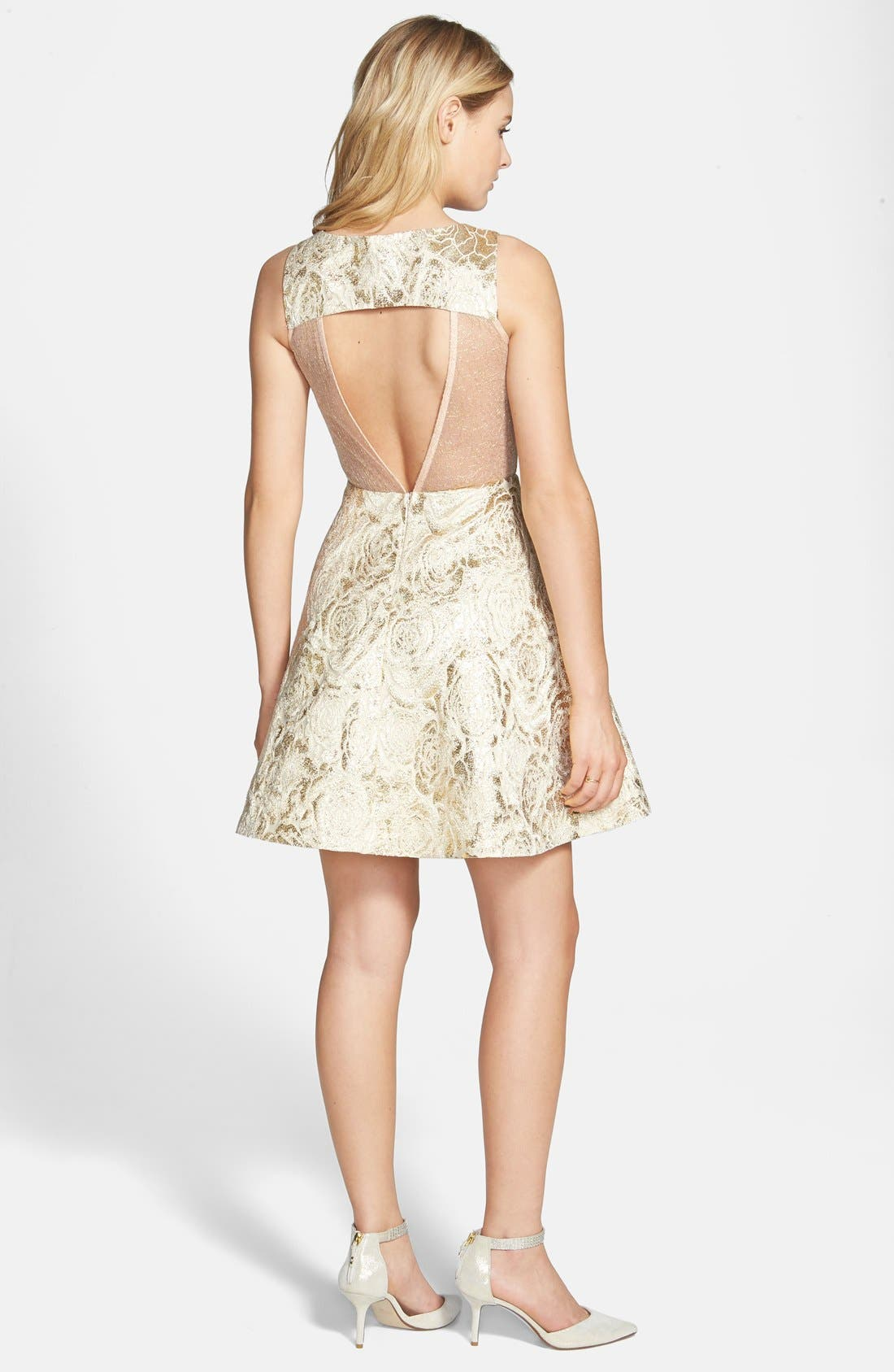 Alternate Image 2  - a. drea Rose Foil Skater Dress (Juniors)