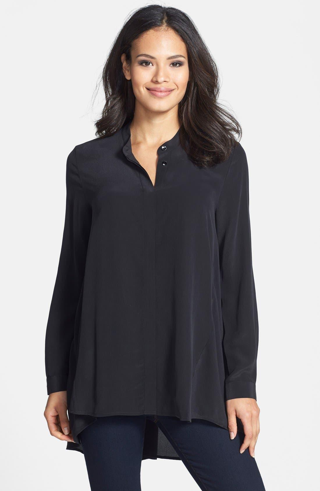 Main Image - Eileen Fisher Silk Crêpe de Chine Mandarin Collar Tunic