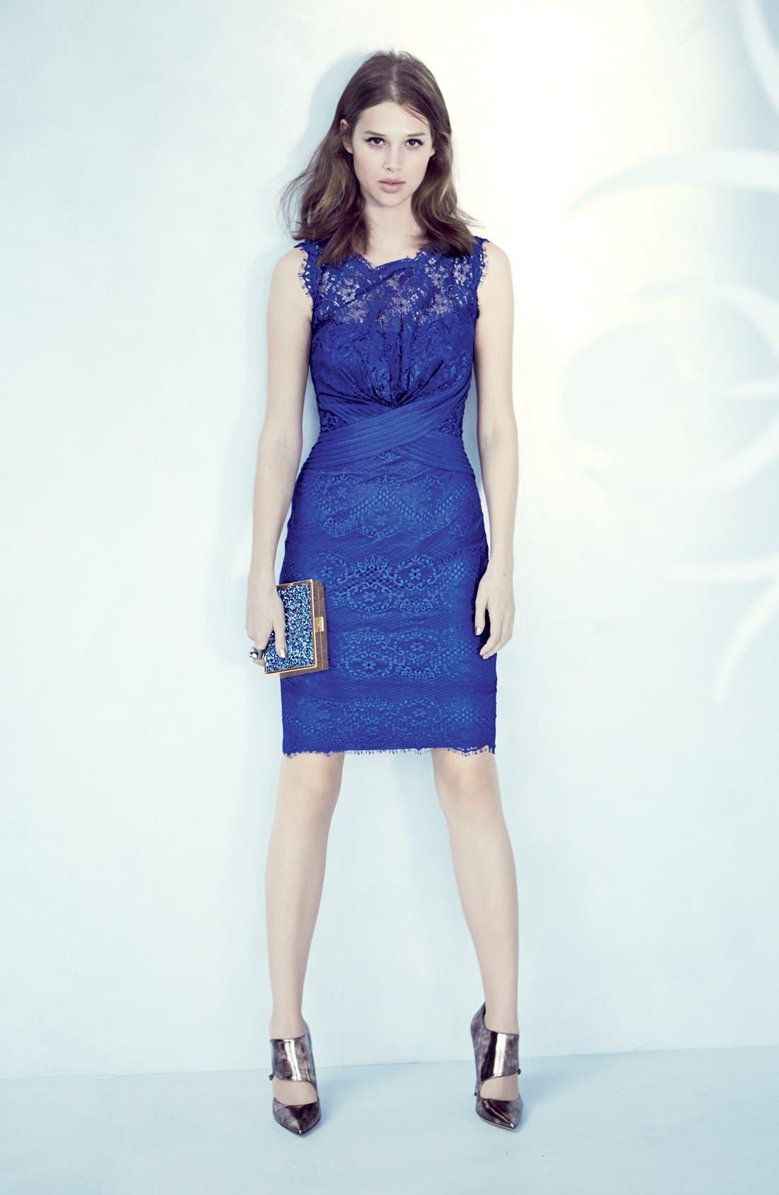 Alternate Image 6  - Tadashi Shoji Lace Sheath Dress (Regular & Petite)