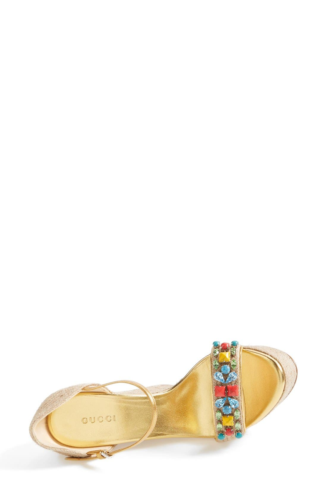 Alternate Image 3  - Gucci 'Carolina' Jeweled Wedge Sandal (Women)