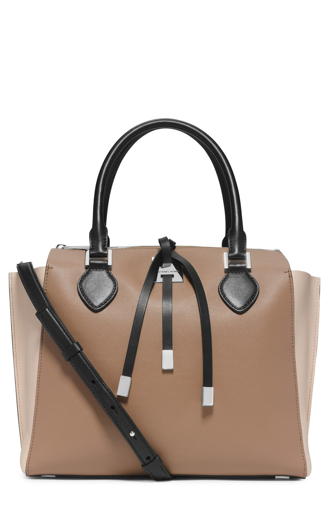 Alternate Image 1 Selected - Michael Kors 'Miranda - Large' Colorblock Leather Satchel