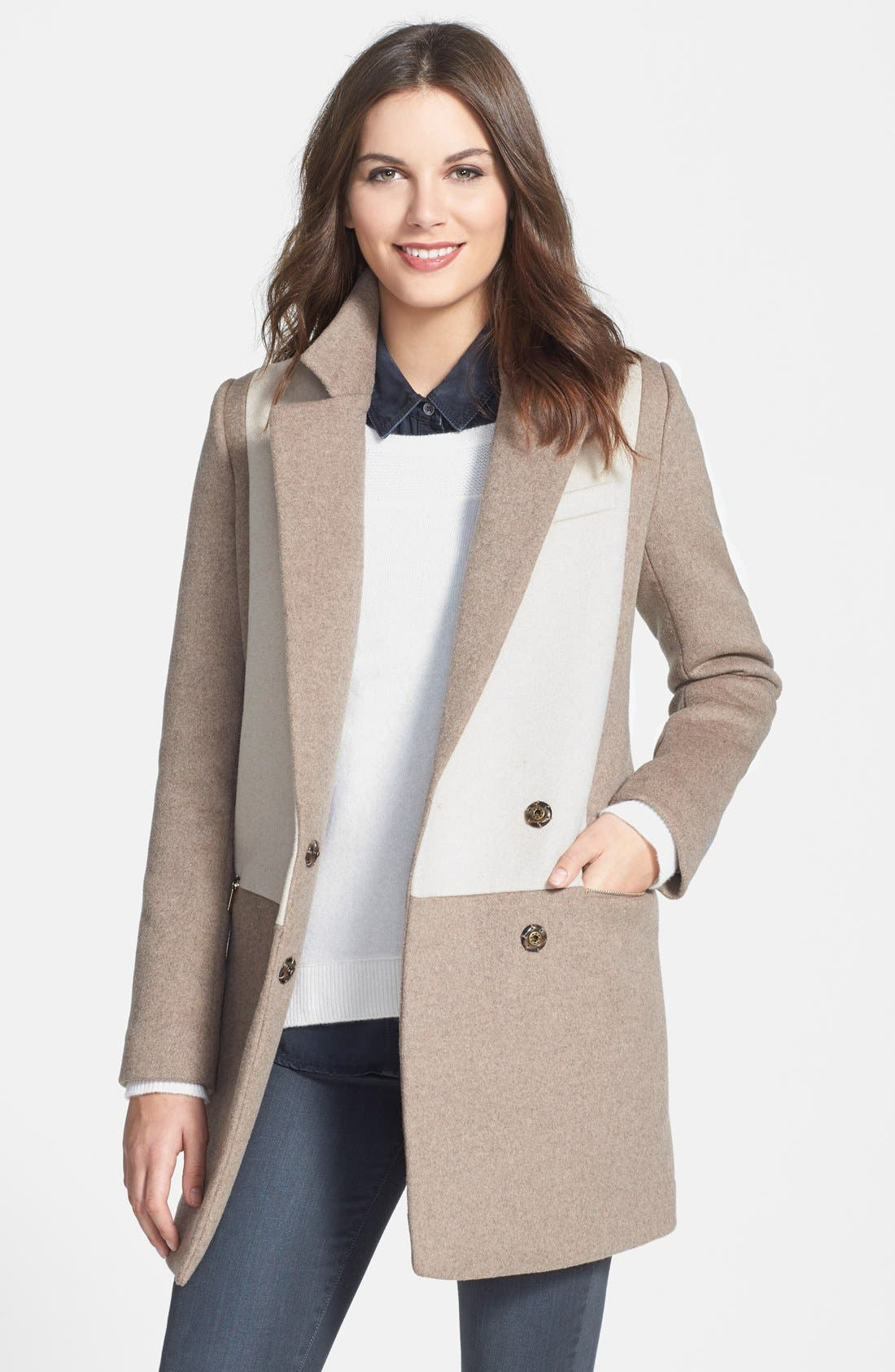 Alternate Image 1 Selected - DL2 by Dawn Levy 'Lila' Colorblock Wool Blend Asymmetrical Coat