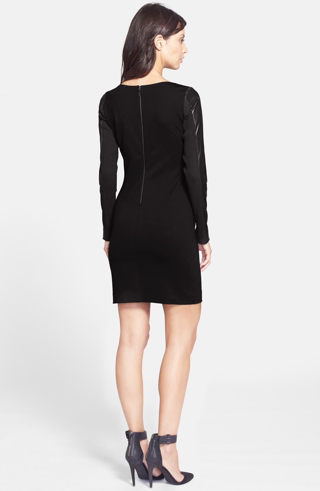 Alternate Image 2  - Nicole Miller Leather Sleeve Ponte Body-Con Dress
