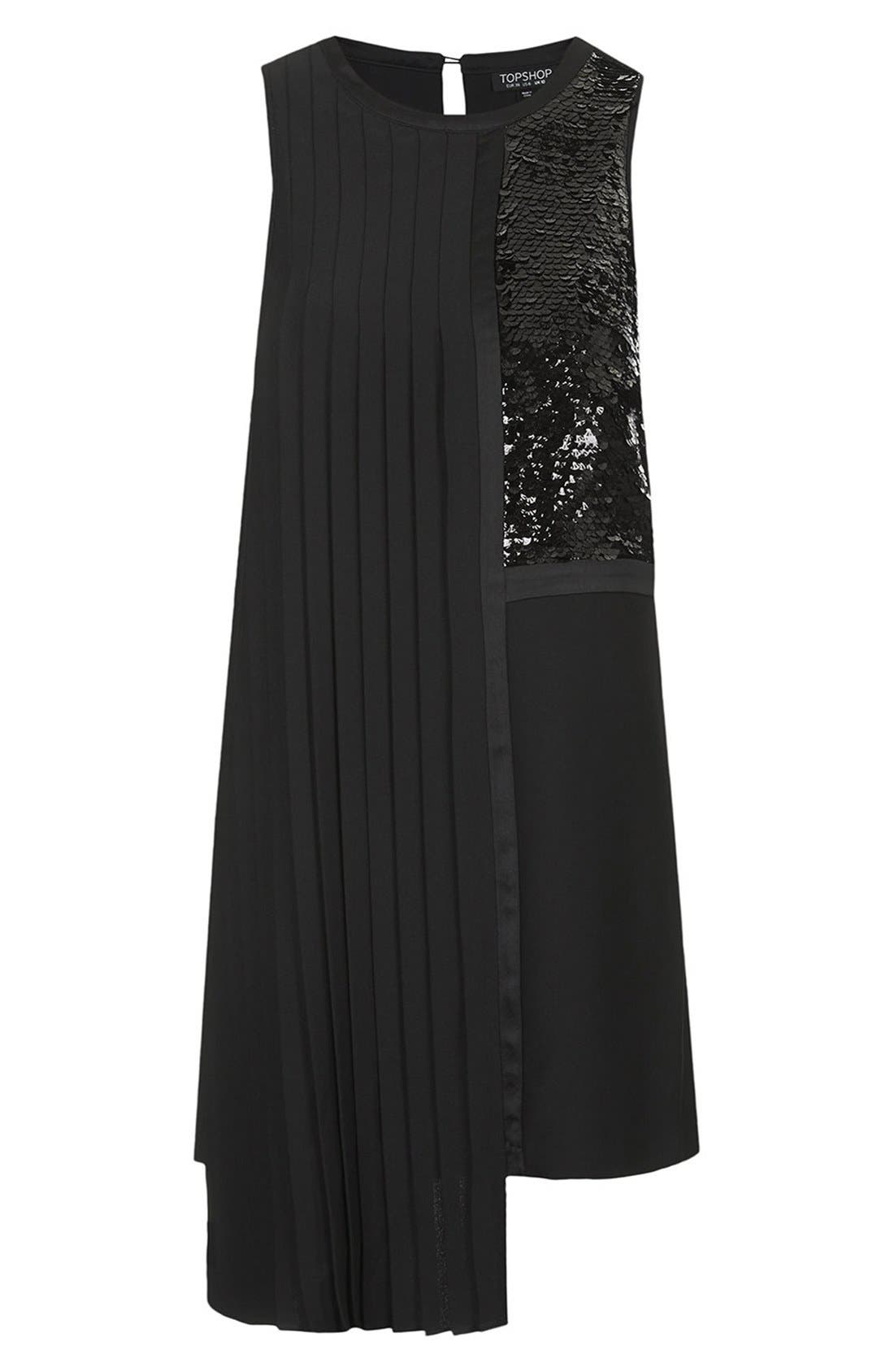 Alternate Image 3  - Topshop Sequin and Pleat Panel Shift Dress