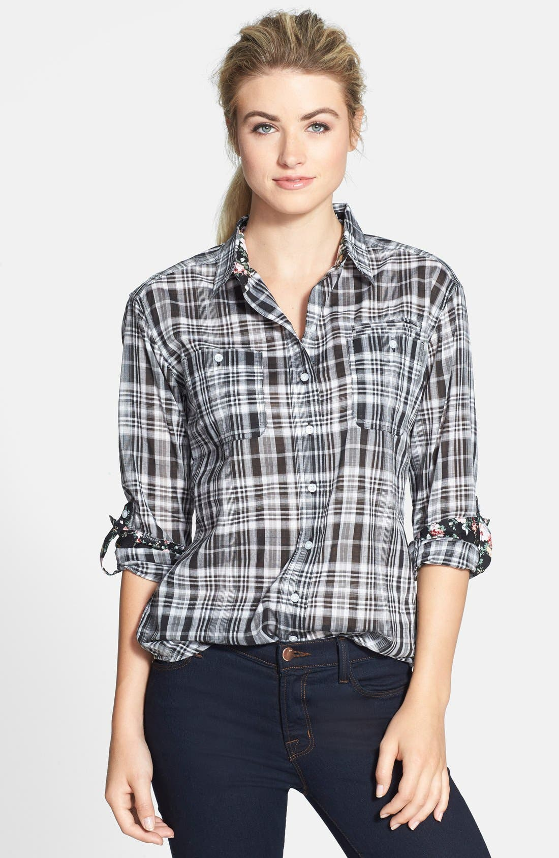 Alternate Image 1 Selected - Sandra Ingrish Plaid Boyfriend Shirt (Regular & Petite)