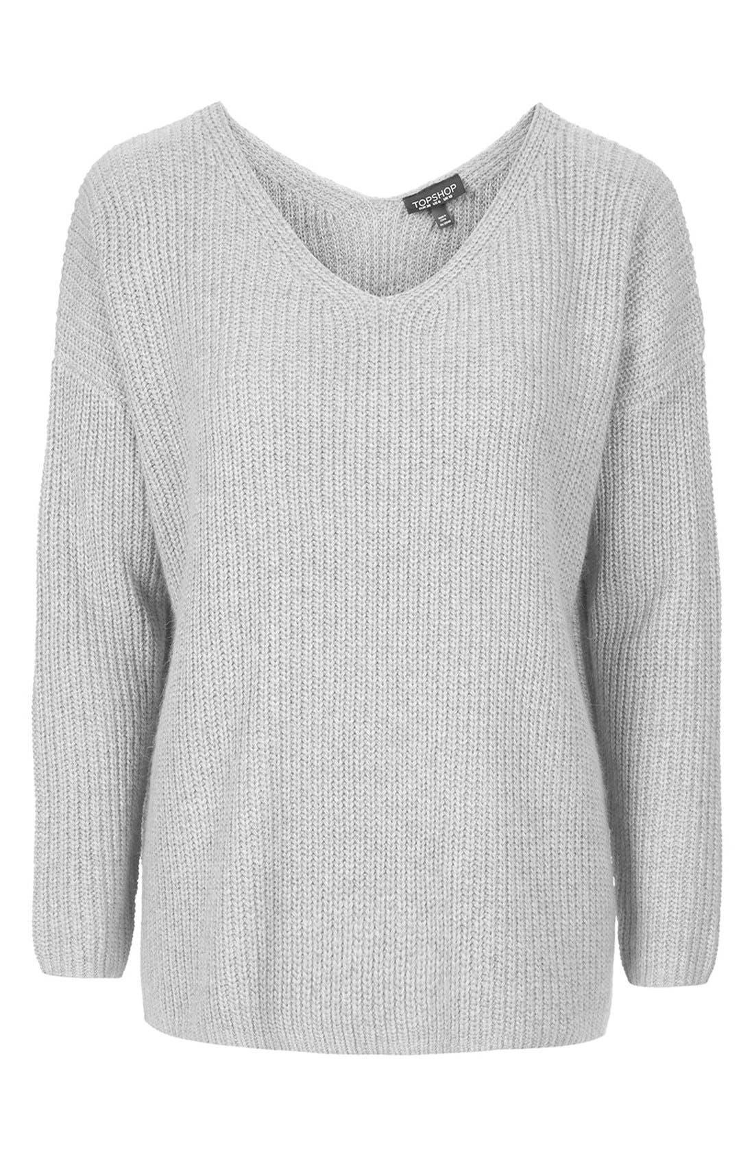 Alternate Image 2  - Topshop Double V-Neck Rib Sweater