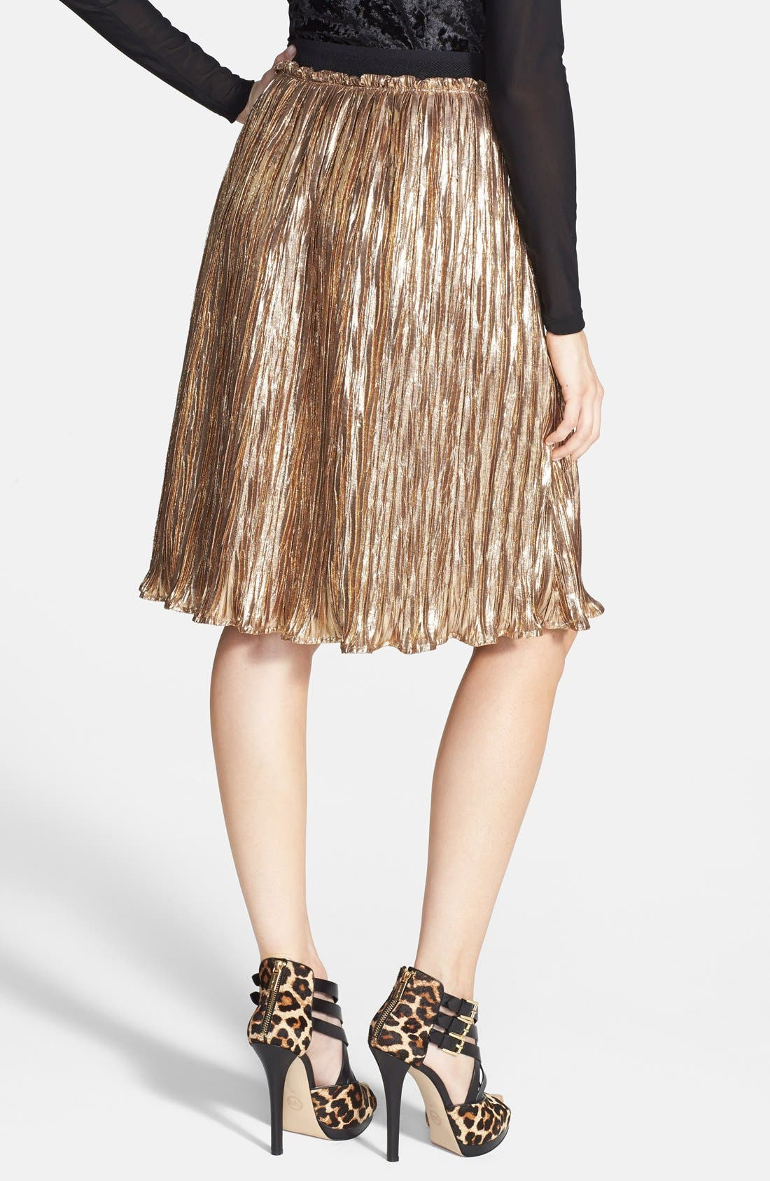 Alternate Image 2  - ASTR Metallic Crinkle Midi Skirt