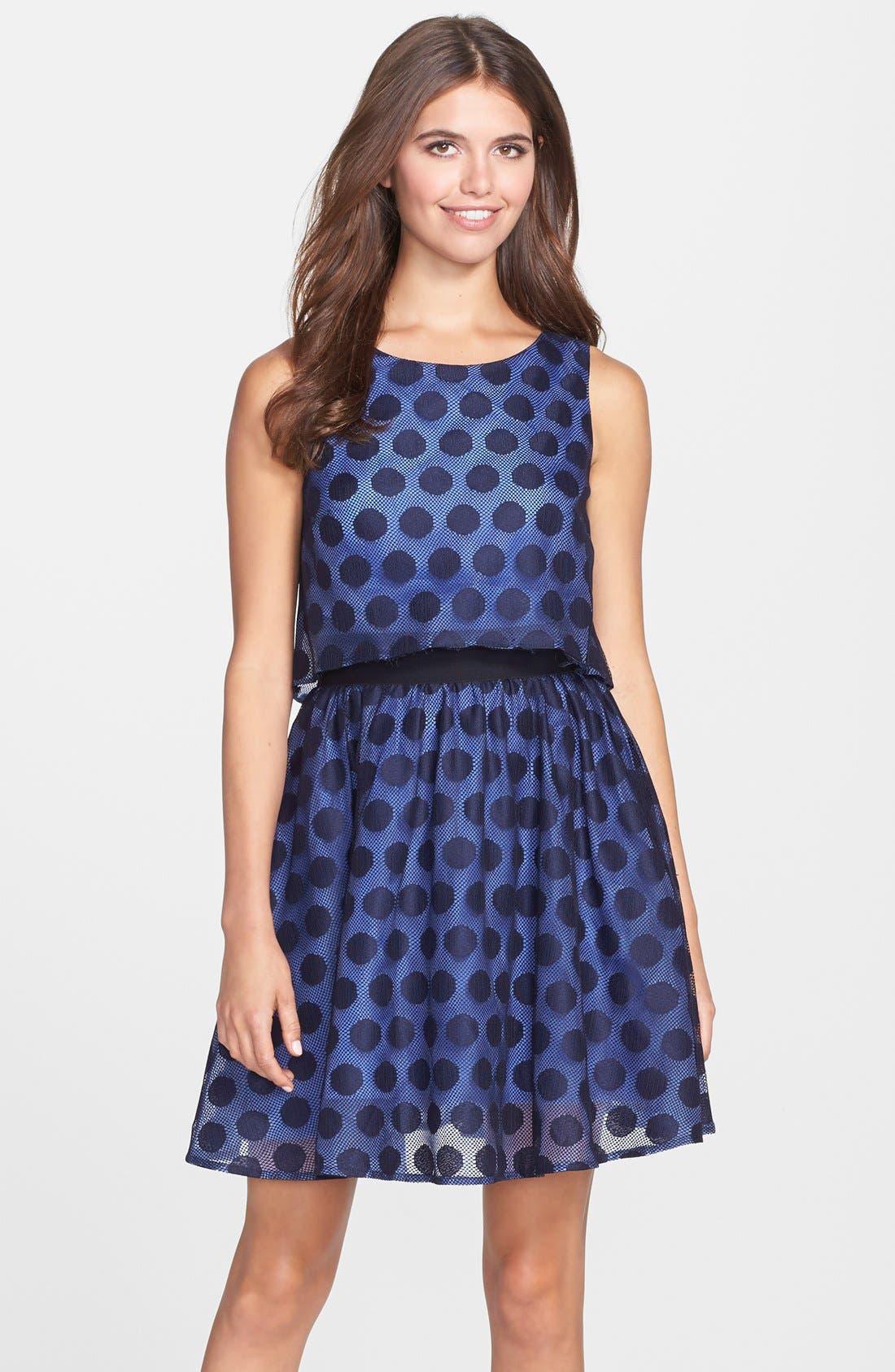 Alternate Image 1 Selected - Betsey Johnson Dot Print Lace Pop Over Dress