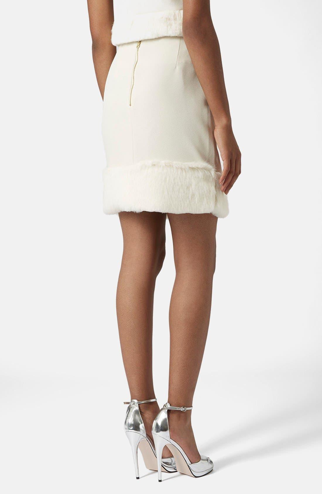 Alternate Image 2  - Topshop Faux Fur Hem Miniskirt