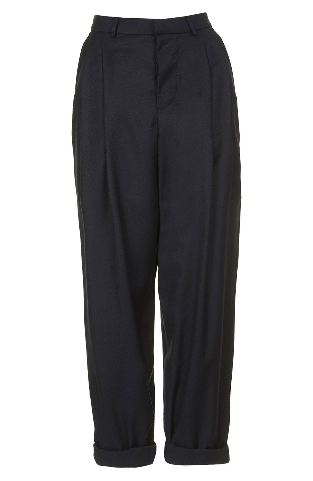 Alternate Image 3  - Topshop Boutique Slouchy Roll-Up Trousers