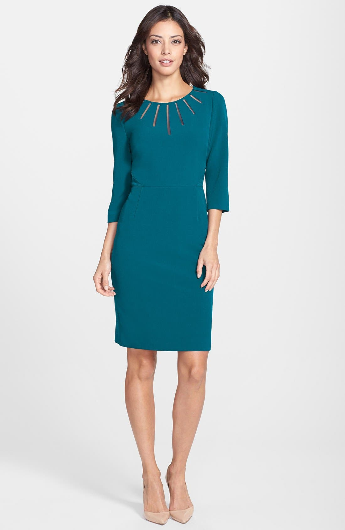 Alternate Image 3  - Adrianna Papell Mesh Insert Crepe Sheath Dress (Regular & Petite)