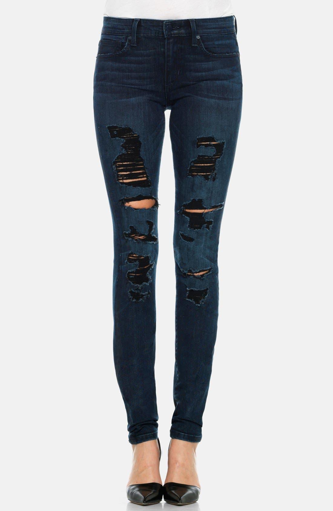 Alternate Image 1 Selected - Joe's Destructed Mid Rise Skinny Jeans (Ellery)