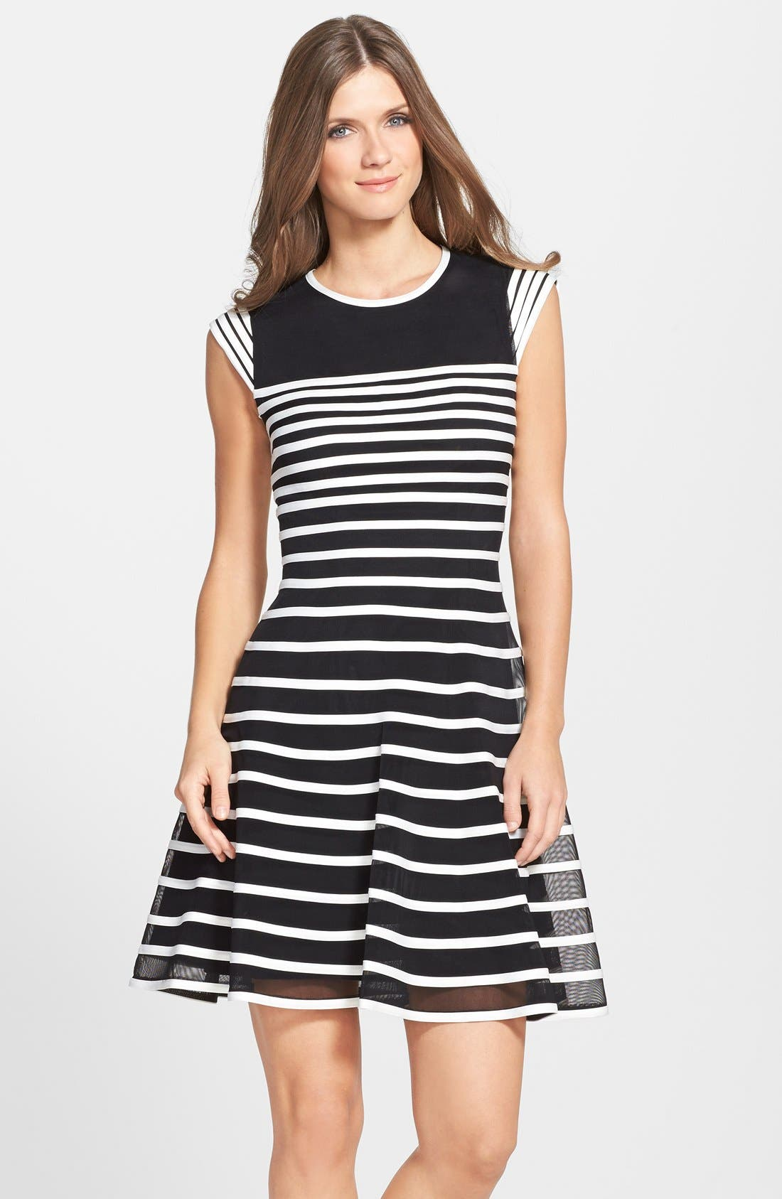 Main Image - Betsy & Adam Stripe Mesh Fit & Flare Dress