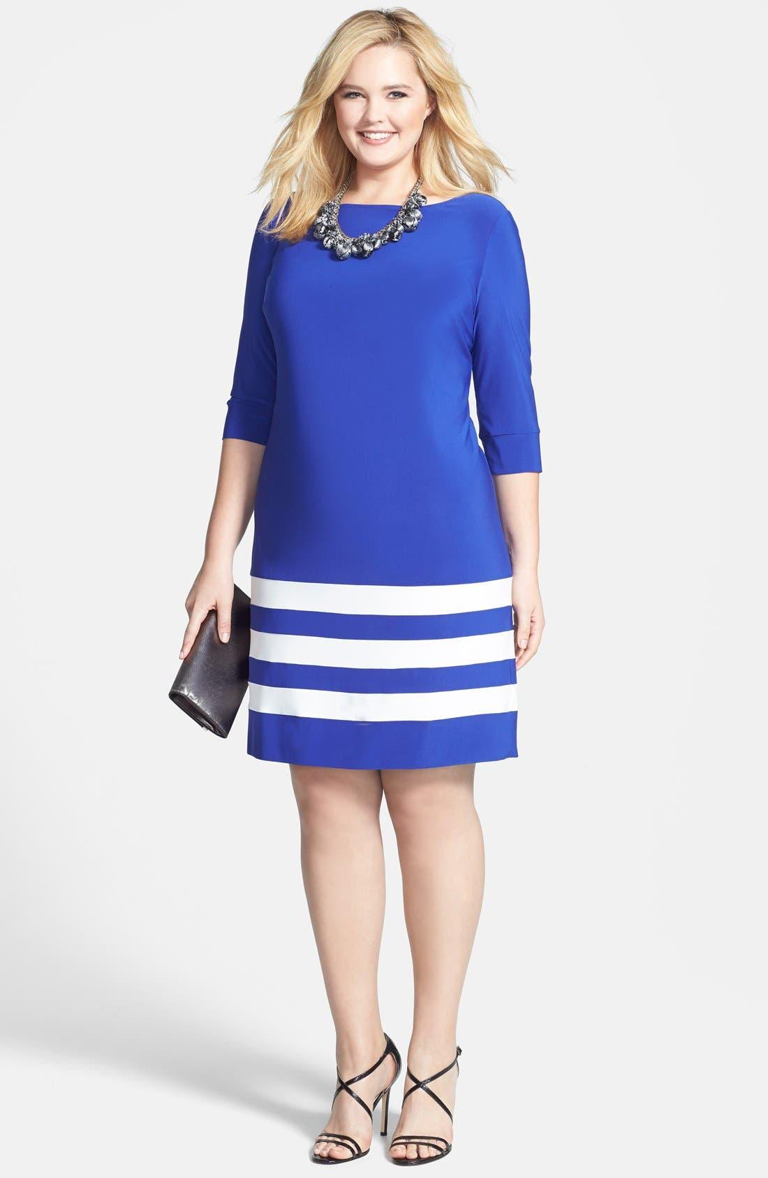 Alternate Image 4  - ABS by Allen Schwartz Stripe Hem T-Shirt Dress (Plus Size)