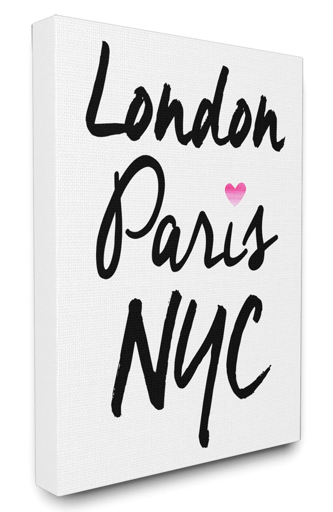 Main Image - LulusimonSTUDIO 'London Paris NYC' Canvas Wall Art