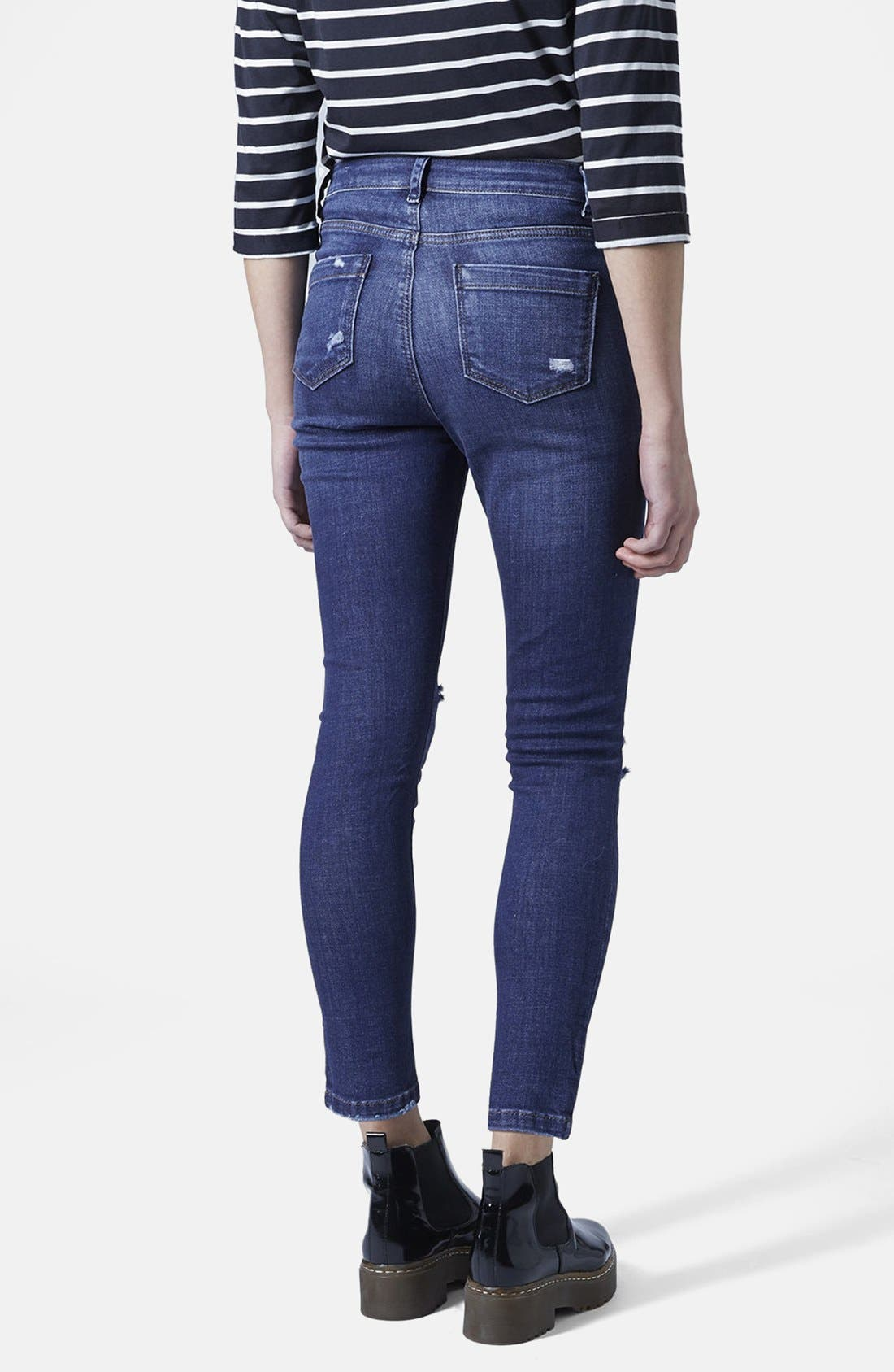 Alternate Image 2  - Topshop Moto Ripped Skinny Jeans (Dark Denim) (Petite)