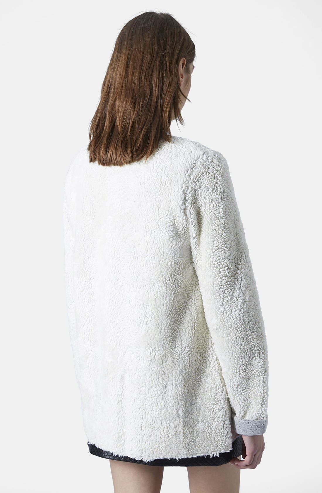 Alternate Image 2  - Topshop Faux Shearling Open Front Cardigan