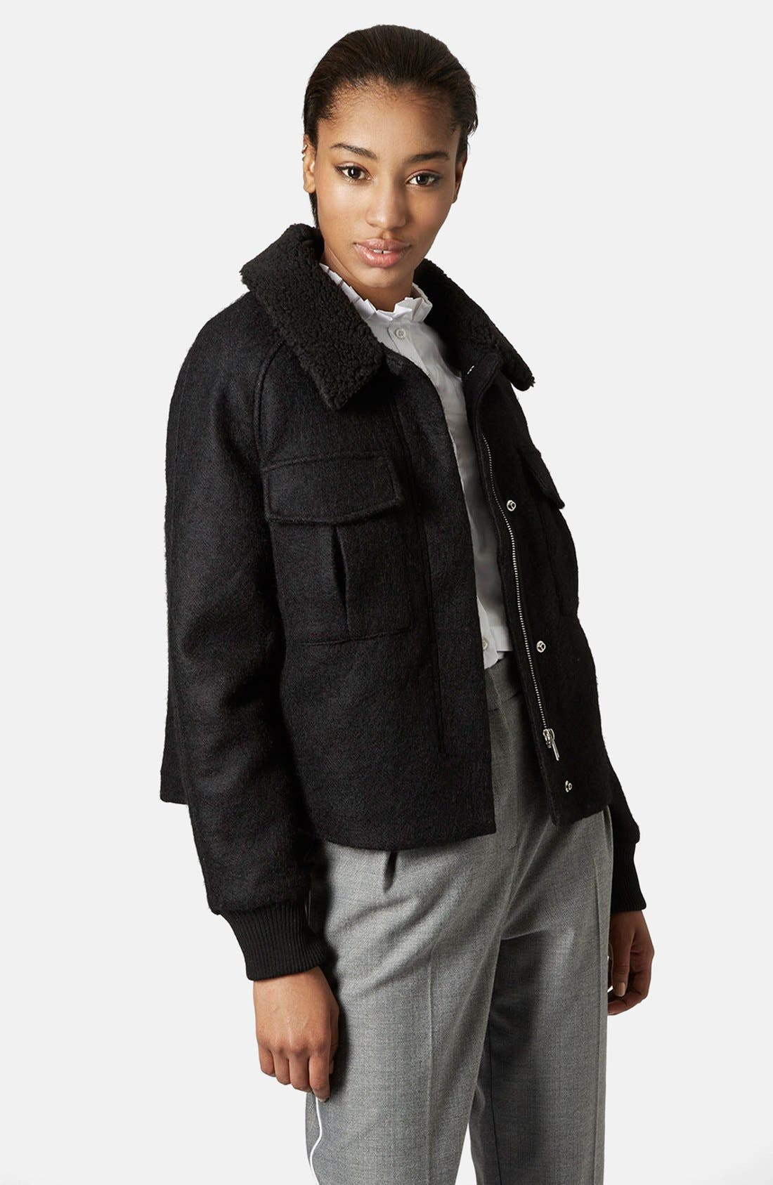 Main Image - Topshop Faux Shearling Harrington Jacket