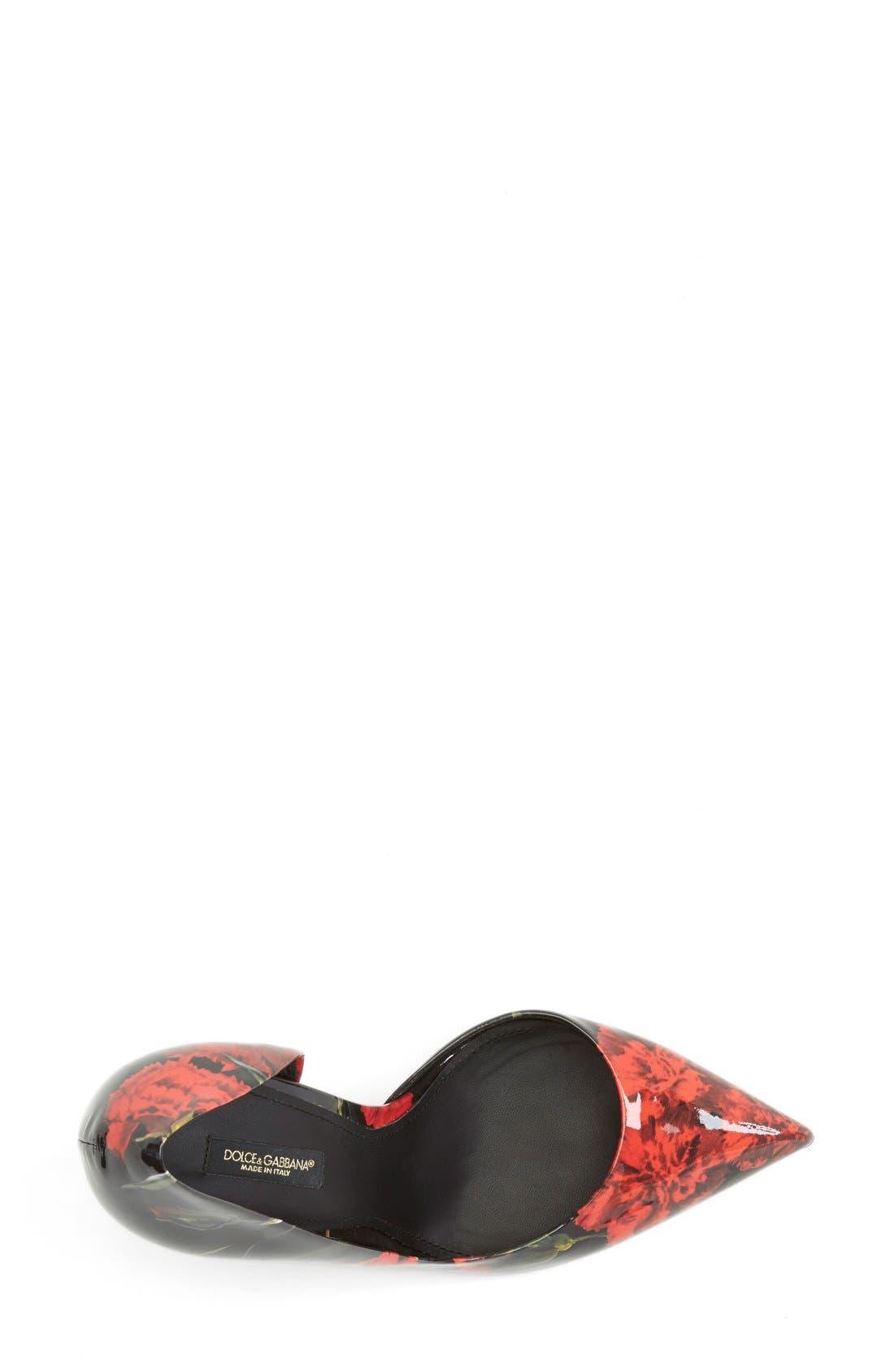 Alternate Image 3  - Dolce&Gabbana Floral Print Patent Leather Half d'Orsay Pump (Women)
