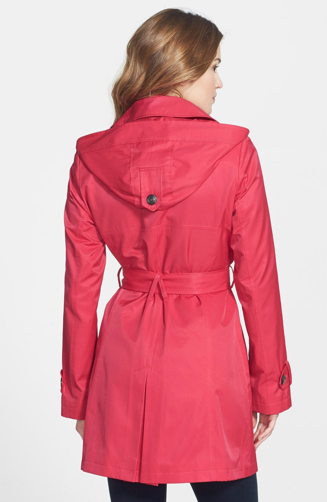 Alternate Image 2  - DKNY 'Abby' Double Breasted Trench Coat with Detachable Hood (Regular & Petite)
