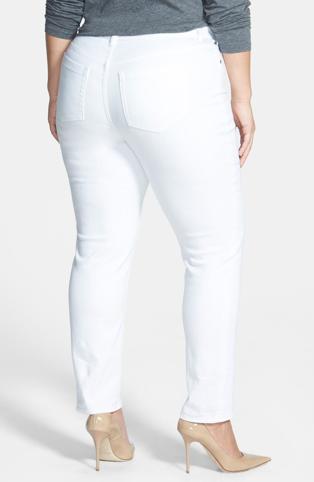 Alternate Image 2  - Two by Vince Camuto Skinny Jeans (White) (Plus Size)