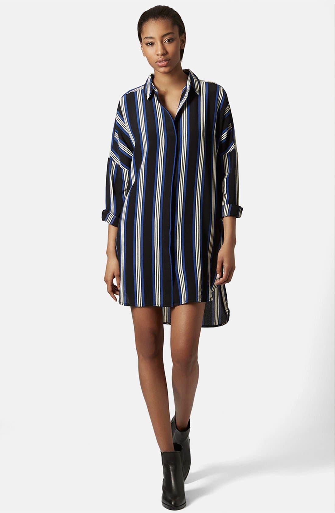 Alternate Image 1 Selected - Topshop 'Granddad' Stripe Shirtdress